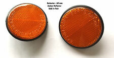 BICYCLE CYCLE BIKE MUDGUARD ROUND AMBER REFLECTOR 59mm - Pack of 2