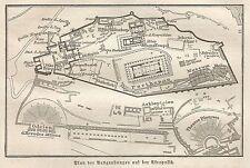 B0801 Greece - Acropolis - Carta geografica d'epoca - 1890 Vintage map