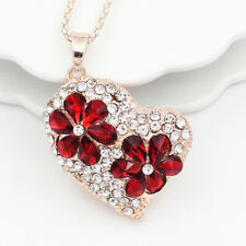 Women's Red Crystal Love Heart Pendant Sweater Chain Betsey Johnson Necklace
