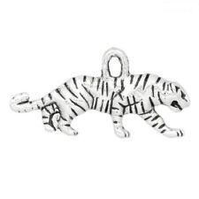 Tiger Tibetan Silver Charm Cat Pendant Pack of 10