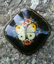 Russian signed hand painted Butterfly brooch.