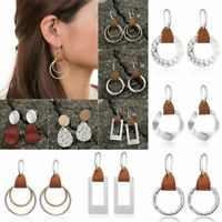 Women Geometric Genuine Leather Silver Earrings Dangle Ear Hook Fashion Jewelry