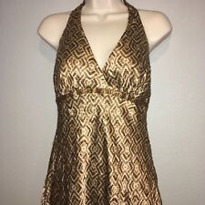 Carmen Marc Valvo Womens Dress 2 Silk Sequin Brown Halter Bling Cocktail Party