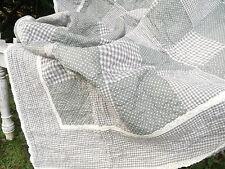 Decke GREY CHECK 150x150 Grau Weiß Karo Punkte  Tagesdecke Krabbedecke Überwurf