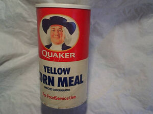 1989 QUAKER YELLOW CORN MEAL EMPTY CANNISTER,Can,no bar code,oats co.baking