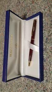 Waterman Hemisphere Ballpoint Pen Red Marble &  Gold Trim New In Box. Black Ink