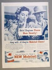 10 X 14 Original 1946 Mobil Ad ENGINES HUM QUIETLY ...IF THEY'RE MOBILOIL CLEAN