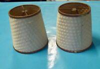 Ancienne paire Abat Jour suspension lustre pochoir vintage rétro papier & métal