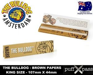 THE BULLDOG BROWN  PURE ECO HEMP ROLLING PAPERS KING SIZE 107mm x 44mm - NOT RAW