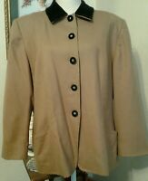 Pendleton Womens 16 Blazer Jacket Tan 100% Wool Black Velvet Collar Pockets