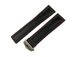 22mm Black/Red Genuine Leather Strap/Band fit Tag Heuer Watch