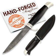 Russian Tactical Knife Fixed Damascus blade Hornbeam Handle Handmade Finka Nkvd