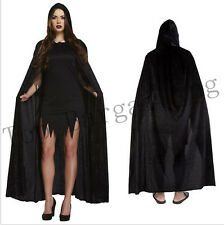 Black Hooded Cloak Cape Medieval Pagan Witch Wicca Vampire  Halloween Costume UK