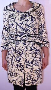 Topshop Boutique Yellow Blue Floral Striped Coat Black Label Spring Size 10 12 L