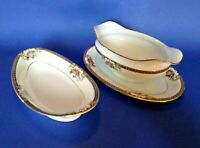 Noritake Grasmere - Gravy Boat With Attached Plate And A Relish Dish - Japan