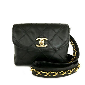CHANEL Quilted Bicolore CC Logo Lambskin Waist Pouch Bum Bag Black /A1863