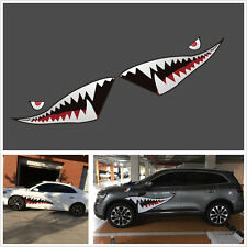 2 Pcs Shark Mouth Tooth Pattern Car SUV Exterior Decor Reflective Sticker Vinyl