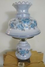 VINTAGE HAND PAINTED BLUE GREY FLOWER GLASS GWTW PARLOR LAMP W/ NIGHTLIGHT