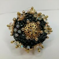 "Handmade Christmas Holiday Ornament 3"" Ball Black Gold Iridescent Sequins Beads"