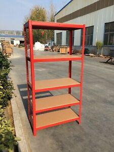 5 Tier Heavy Duty Boltless Metal Shelving Shelves Storage Racking Garage - Red