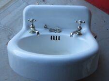 Antique Cast Iron White Porcelain Bathroom Farm House Wall Sink w/ Faucets 1922
