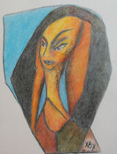 Abstract cubist portrait pastel painting signed