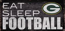 "Green Bay Packers Eat Sleep Football Wood Sign - NEW 12"" x 6""  Decoration Gift"