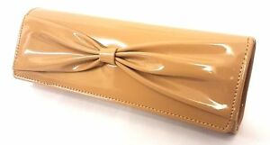 NUDE RETRO PATENT WEDDING LADIES PARTY PROM EVENING CLUTCH HAND BAG PURSE 2018