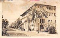 Honolulu Hawaii~Bishop Street~Big Corner Building~Shops~1930s Cars~1947 RPPC