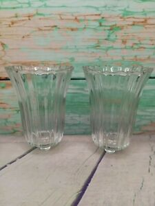 Pair Vintage Homco Antique Rose 🌹 Clear Glass Votive Candle Holders Ribbed