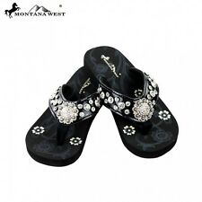 Montana West Bling Bling Collection Flip Flops Floral Concho Rhinestones Thin