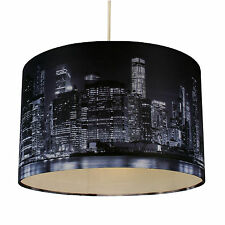 32cm Lamp Shade Ceiling Light Digital Printed Fabric New York Skyline At Night