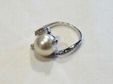 Bijou bague plaqué argent perle et strass taille 58 ring
