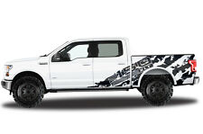 Vinyl Decal Wrap for Ford F-150 15-17 SuperCrew 5.5 Bed F-150 SHREDS Matte Black
