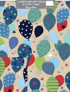 Balloons Folded Gift Wrap 2 X Sheets 2 X Matching Tags Party Juvenile Kids