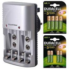 Lloytron AA & AAA Battery Charger + 4 Duracell AA & 4 AAA Rechargeable Batteries