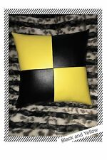 Accent Decorative leather pillow Black Yellow throw case cover cushion