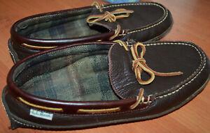 LL Bean Leather Mocassin Slippers Plaid Cushioned Lining Mens Brown sz 9 Medium
