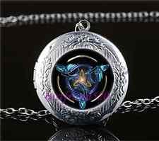 Celtic Triquetra Photo Cabochon Glass Tibet Silver Locket Pendant Necklace