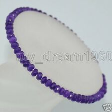 """Natural 2x4mm Faceted Amethyst Abacus Beads Roundlle Gemstone Bracelets 7.5"""""""