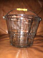 Beautiful Vintage Glass Ice Bucket With metal and wood Handle
