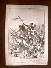 Amedeo Granatieri Battaglia di Custoza Incisione 1881 Dinastia Savoia Oscar Pio