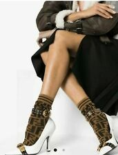 "Fendi  Women's Brown ""FF"" Logo Socks Brown Medium Size"