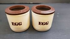 2 Collectible Vintage Ceramic Egg Cups White Brown Flowers Made In England 1970