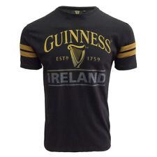 Mens Tee-Shirt Black Deep Tan Guinness Tape Slim-Fit Design Cotton