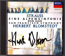 Herbert BLOMSTEDT Signed R. STRAUSS Eine Alpensinfonie Don Juan CD San Francisco