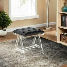 Candace & Basil Tufted Foot Stool, Black