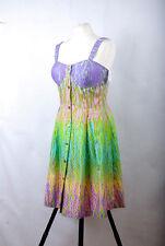 P279/33 Muse Cotton Rainbow Multicoloured Corset Dress, UK 10/12 Euro 40 USA10