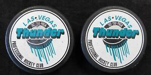 Las Vegas Thunder Professional Hockey Club 50th Anniversary LOT OF 2 Pucks
