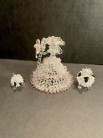 VINTAGE SPUN ART GLASS BO PEEP & 2 SHEEP Figurines